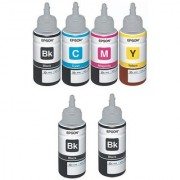 Original Epson Ink All Colors with 2 Black Extra (T6641-B T6642-C T6643-M T6644-Y) 70 Ml