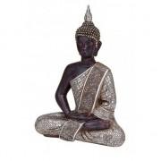 Merkloos Zwart/zilver boeddha beeldje zittend 29 cm