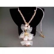 Colier bijuterie cu perle rozalii