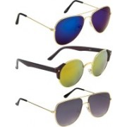 NuVew Aviator, Round, Retro Square Sunglasses(Blue, Golden, Grey)