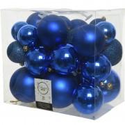 Decoris 26x stuks kobalt blauwe kerstballen 6-8-10 cm kunststof - Kerstbal