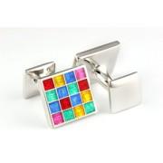 Mousie Bean Enamelled Cufflinks Multi Square 105 Multicolor