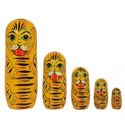 Set of 5 Piece Beautiful Wooden Tiger Family Russian Nesting Dolls Christmas Gift Handmade Painted Toys by Fine Craft India