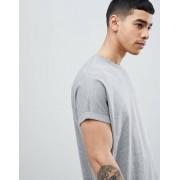 ASOS DESIGN Серая меланжевая удлиненная оversize-футболка с отворотами на рукавах