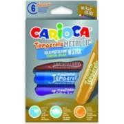 Creioane tempera metalizate lavabile 6 culori-cutie CARIOCA Temperello Metallic