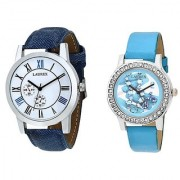 Laurex Analog Leather Watches for Lovely Couple Combo-LX-062LX-033