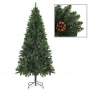 vidaXL Изкуствено коледно дърво с шишарки, зелено, 180 см
