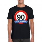 Bellatio Decorations Verkeersbord 90 jaar t-shirt zwart heren
