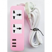 USB 3 Port with 2 Universal Power Socket Pink Colour