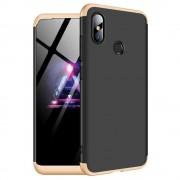 GKK 360 Protection telefon tok hátlap tok Első és hátsó tok telefon tok hátlap az egész testet fedő Xiaomi redmi 6 NOTE Pro fekete-arany