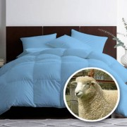 Pilota matlasata umpluta cu lana pentru iarna damasc Albastru 180x210 cm