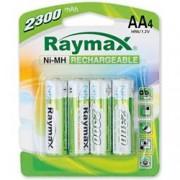 Raymax Batteries Blister 4 Batterie Ricaricabili Stilo AA 2300mAh