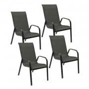 Happy Garden Lot de 4 chaises MARBELLA en textilène gris - aluminium noir