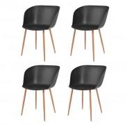 vidaXL Jídelní židle 4 ks černé plastové sedáky, ocelové nohy