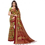 Indian Beauty Women's Red Color Mysore Silk Printed Saree Border Tassels With Blouse Piece(SUNG-RED_Free Size)(In 4 Colors Available)