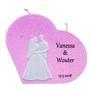 Trouwkaars hart roze met was decoratie bruidspaar