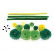 Merkloos Knutselset groene rups van pompons
