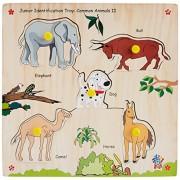 Skillofun Wooden Junior Identification Tray Common Animals II with Knobs, Multi Color