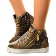 Sneaker Happiness Trapuntate in Pelle Scamosciate Fango Invernali T: 35