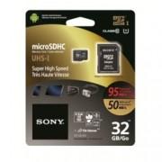 32GB microSDHC, с SD адаптер, Sony, Class 10 UHS-I, скорост на четене 95MB/s, скорост на запис 50MB/s