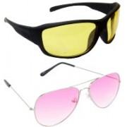 Hrinkar Sports Sunglasses(Yellow, Pink)