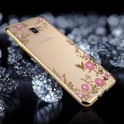 Para Samsung Galaxy A7 (2017) / A720 Flores Patron Galvanoplastia Con Incrustaciones De Diamante Cubierta Protectora Caso Suave De Tpu (Dorado)