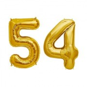 De-Ultimate Solid Golden Color 2 Digit Number (54) 3d Foil Balloon for Birthday Celebration Anniversary Parties