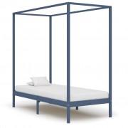vidaXL Рамка за легло с балдахин, сива, бор масив, 90х200 см