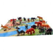 DY 20 Pcs Wild Animals Set (Medium Size) - Learning and Educational Toy + Made of Rubber + Non-Toxic (Multicolor)