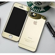 Folie Sticla iPhone 5S iPhone SE Set 2 Buc Fata si Spate Mirror Gold Auriu Protectie Antisoc Tempered Glass