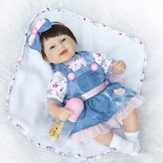 Pinky 42cm 17 Inch Lovely Realistic Looking Baby Girl Reborn Dolls Toddler Soft Silicone Lifelike Newborn Doll Babies that Look Real Magnet Pacifier