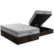 Conjunto Cama Box Baú - Colchão Probel de Molas Pocket ProDormir Springs Luxo Euro Pilow + Cama Box Baú Nobuck Rosolare Café - Conjunto Box Casal - 138 x 188