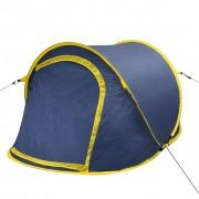 vidaXL Саморазгъваща се палатка, двуместна, тъмносиньо и жълто