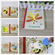 Wooden BabyStory Bed Time Book with Easy Turn Pages and 6 Colorful Jigsaw Puzzles Preschool Early Learning Education (Insect Animals)