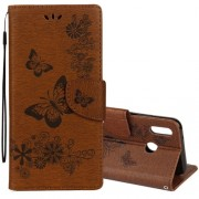 For Huawei P20 Lite Vintage Embossed Floral Butterfly Pattern Horizontal Flip Leather Case with Card Slot & Holder & Wallet & Lanyard (Brown)