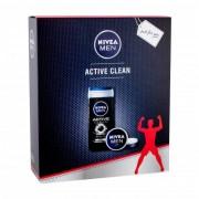 Nivea Men Active Clean set cadou Gel de dus 250 ml + Crema universala Men Creme 75 ml pentru bărbați