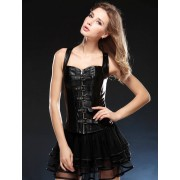 12 Steel Bones Faux Leather Corset