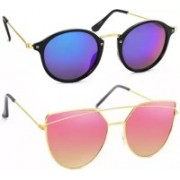 SRPM Cat-eye, Wayfarer Sunglasses(Blue, Pink)