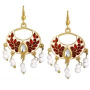 Spargz Simple Beauty Gold Plated Daily Wear White Meenakari Chandbali Hook Earrings For Women AIER 1063