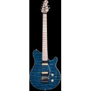 Sterling by MusicMan SUB Axis AX4 blauwe electrische gitaar DEMO MODEL (nieuw maar heeft uit gestaan)