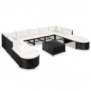 Set mobilier de grădină, 32 piese, poliratan, negru și alb crem