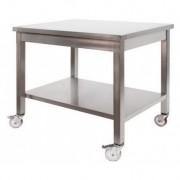 Tavolo in Acciaio Inox Professionale su Ruote 1400x700x850
