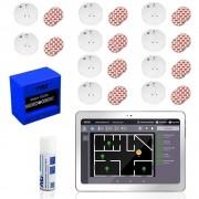 TabTechnic SmokeTab Brandmeldezentrale mit Funk-Rauchmelder 10 x Funk-Rauchmelder