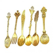 Ocamo 6pcs/Set Nostalgic Vintage Royal Style Metal Carved Coffee Spoons and Fork for Sweet Snacks