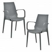 [casa.pro]® Sada záhradných stoličiek HTRS-8558 - 2 ks - 89 x 44 x 55,5 cm - tmavo sivé