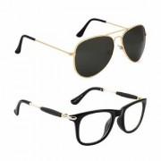 DEBONAIR Aviator and Wayfarer Men's and Women's Sunglasses Combo (Black Clear) - Pack of 2