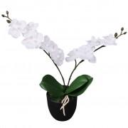 vidaXL Artificial Orchid Plant with Pot 30 cm White