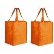 Merkloos 2x Boodschappen tas/shopper oranje 38 cm