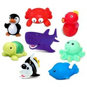 Dollibu Bath Buddies Ocean Critters Rubber Squirter Toys - Octopus, Sea Horse, Shark, Dolphin, Turtle, Penguin, Crab, Fish - 3 inch - for Baths, Pool, Outdoor - Baby Bathtime Learning (8pc Set)