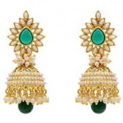 Penny Jewels Alloy Studding White Pearls Beads Handcrafted Fashion Designer Jhumki Earring Set For Women Girls